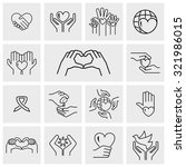 outline charity vector icons... | Shutterstock .eps vector #321986015