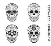 day of the dead skulls  black... | Shutterstock .eps vector #321991898