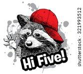 vector raccoon in red cap.... | Shutterstock .eps vector #321993512