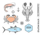 seafood vector nautical set... | Shutterstock .eps vector #322000052