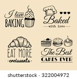 vector set of vintage bakery... | Shutterstock .eps vector #322004972