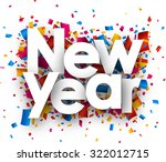new year with colour confetti.... | Shutterstock .eps vector #322012715