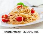 italian pasta with tomato sauce ... | Shutterstock . vector #322042406