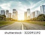 empty asphalt road with trees... | Shutterstock . vector #322091192