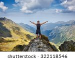 happy man with arms raised... | Shutterstock . vector #322118546