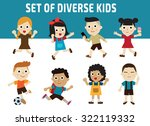 set of diversity full length... | Shutterstock .eps vector #322119332