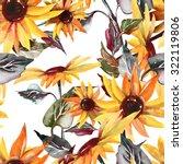 sunflowers seamless pattern | Shutterstock . vector #322119806