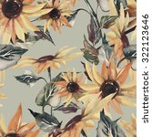 Sunflowers Seamless Pattern