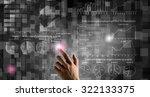 businessman hand pushing... | Shutterstock . vector #322133375