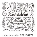 hand drawn vintage floral... | Shutterstock .eps vector #322138772