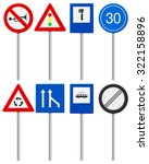 traffic road signs set on a... | Shutterstock . vector #322158896