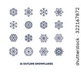 snowflakes outline icons set... | Shutterstock .eps vector #322167872