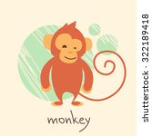 Cute Monkey Cartoon Drawing...