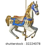 A Carousel Horse Isolated Over...