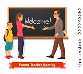 teacher and parent meeting in... | Shutterstock .eps vector #322243082