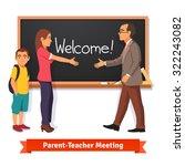 teacher and parent meeting in... | Shutterstock .eps vector #322243082
