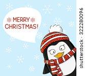 christmas penguin on snow... | Shutterstock .eps vector #322280096