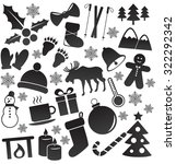 winter  christmas icon set. | Shutterstock . vector #322292342