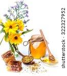 honey in nature background.... | Shutterstock . vector #322327952