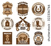 vintage brown wild west badges... | Shutterstock .eps vector #322336766