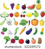 cartoon vegetables and fruits  | Shutterstock .eps vector #322339172