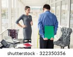 angry female boss talking to... | Shutterstock . vector #322350356