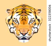 Tiger Low Poly Design. Triangl...