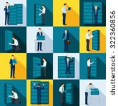 datacenter flat icons set with... | Shutterstock .eps vector #322360856