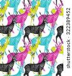 deer hand drawn seamless...   Shutterstock .eps vector #322389452