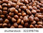 Group Of Edible Chestnuts. Dar...