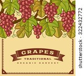 retro grapes harvest card.... | Shutterstock .eps vector #322432772
