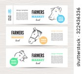 horizontal banners with cow ... | Shutterstock .eps vector #322436336