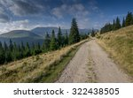 dirt road on grassy mountain... | Shutterstock . vector #322438505