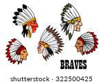 colorful cartoon native... | Shutterstock . vector #322500425