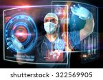 doctor in uniform with digital  ... | Shutterstock . vector #322569905