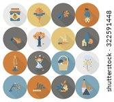 set of flat autumn icons.... | Shutterstock . vector #322591448