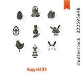 celebration easter icons. .... | Shutterstock . vector #322595648