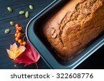 freshly baked pumpkin bread... | Shutterstock . vector #322608776