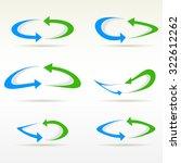 set of plain round arrow icons. ...