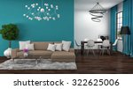 interior with brown sofa. 3d... | Shutterstock . vector #322625006
