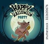 happy halloween design template ... | Shutterstock .eps vector #322630676
