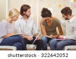 colleagues supporting tensed... | Shutterstock . vector #322642052