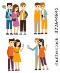 young people communicate in the ... | Shutterstock .eps vector #322644842