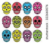 halloween mexican sugar skull ... | Shutterstock .eps vector #322660076
