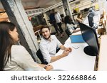 people working at busy modern... | Shutterstock . vector #322668866