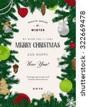 vintage vector card. christmas... | Shutterstock .eps vector #322669478