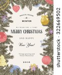 vintage vector card. christmas... | Shutterstock .eps vector #322669502