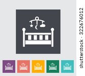 baby bed icon. flat vector... | Shutterstock .eps vector #322676012