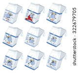 milk. packing with the drawn cow | Shutterstock . vector #322679705