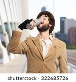 happy homeless man with beer | Shutterstock . vector #322685726
